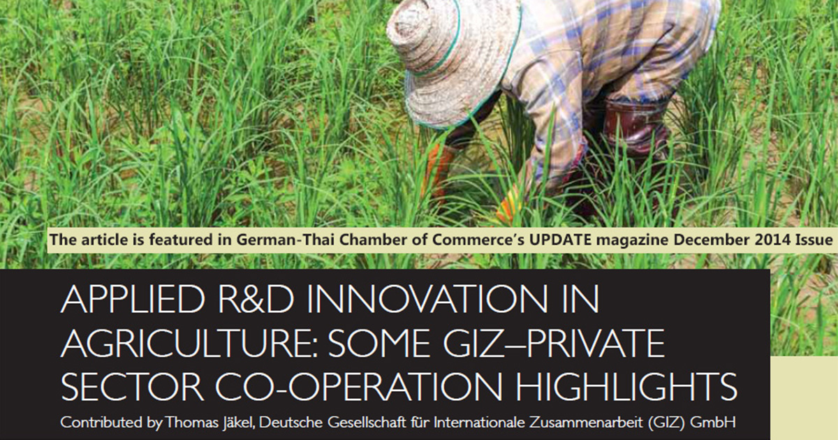 German-Thai Chamber of Commerce's UPDATE magazine, 18 Febuary 2015 GIZ-Private Sector Cooperation Highlights