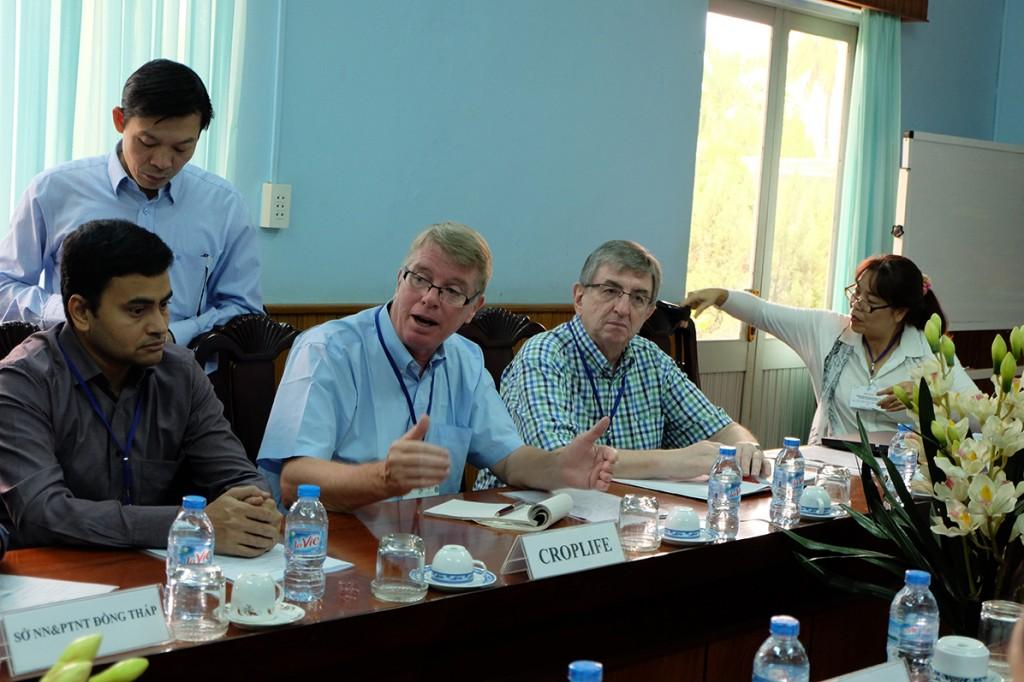 From left: Mr. Raghavan Sampathkumar, Stewardship Director of Croplife Asia; Mr. Le Tien Phong, Interpreter; Keith Jones, Stewardship Director of Croplife International; Ambros Dotzer, Head of Component/ Regional Coordinator ASEAN SAS; and Ms. Do Thi Thanh Huyen, Senior Project Officer ASEAN SAS Vietnam.