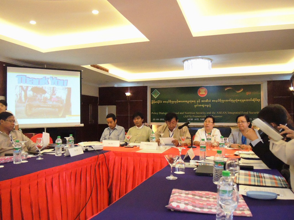 : The Policy Dialogue on Food and Nutrition Security and the ASEAN Integrated Food Security (AIFS) Framework in Myanmar was held in Nay Pyi Taw on 3 September 2015.