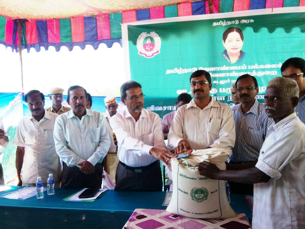 Distribution of Flood Relief Materials, organised by Tamil Nadu Agricultural University and State Department of Agriculture on 12 December 2015. From left to Right: Director of Tamil Nadu Rice Research Institute, Vice Chancellor of Tamil Nadu Agricultural University, District collector Cuddalore, Joint Director of Agriculture Department, and Special Officer Seeds