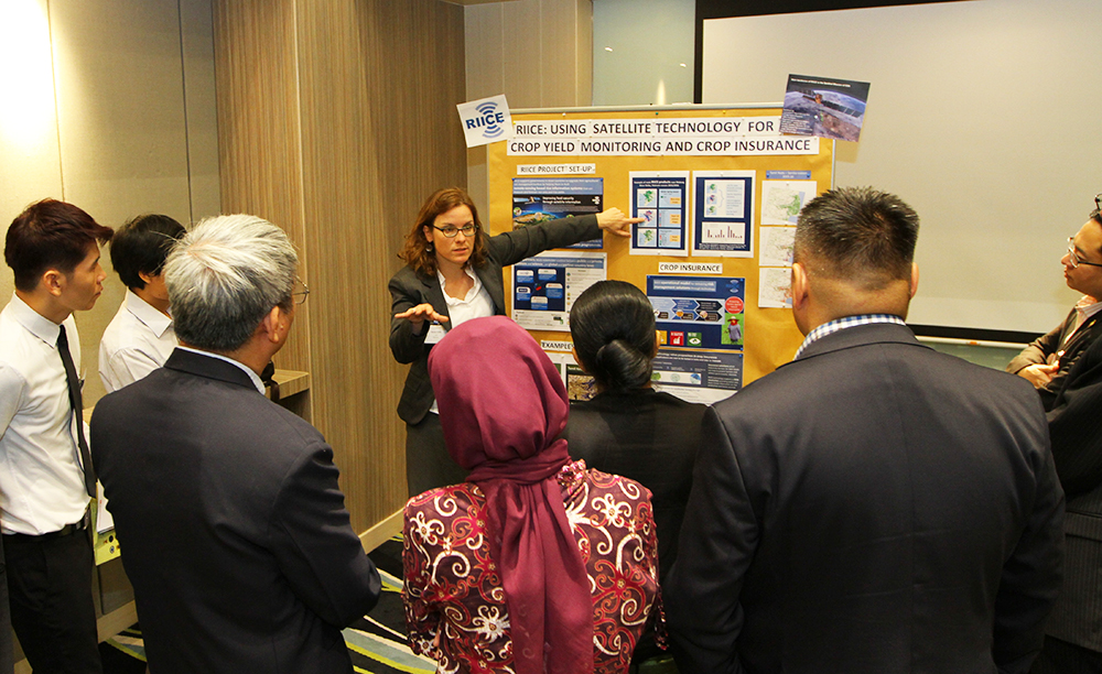 Ms. Susan Gille, RIICE Project Manager, presents in a market place session on regional activities and international support on disaster risk insurance solutions.