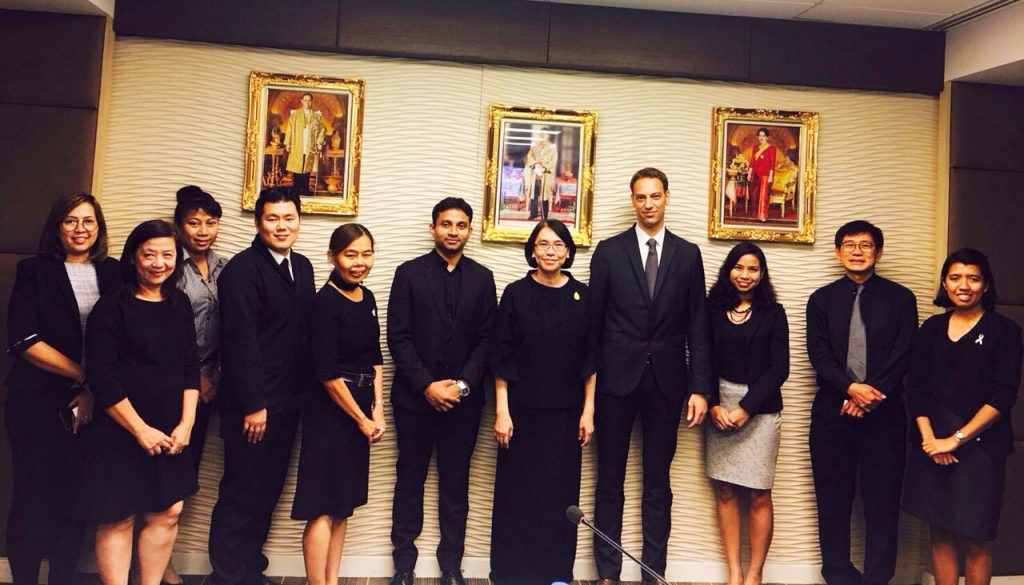 Thailand's Deputy Minister Chutima Bunyapraphasaia of the Ministry of Agricultural and Cooperatives (seventh from left) and Dr. Matthias Bickel, Director of Better Rice Initiative Asia and ASEAN Sustainable Agrifood Systems