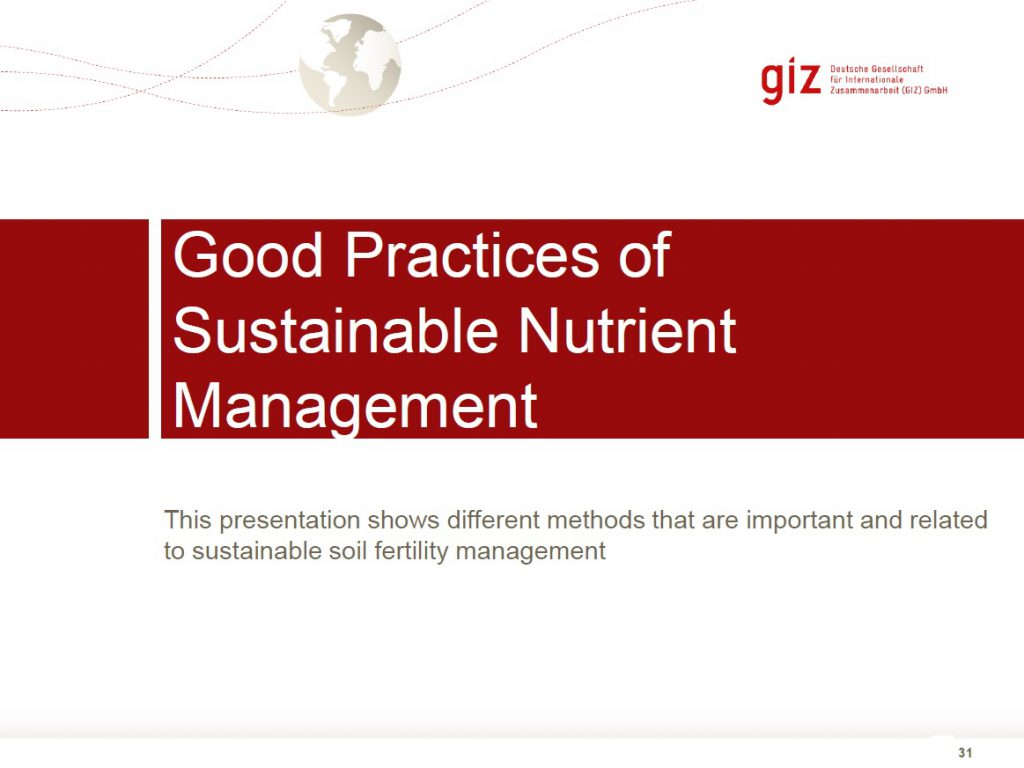 Good Practices of Sustainable Nutrient Management