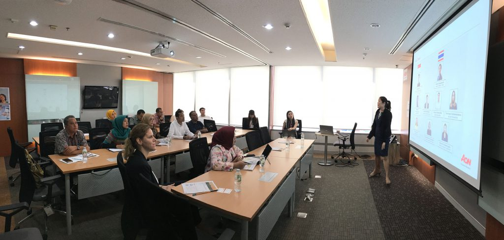 The delegates visited Aon Re (Thailand) Ltd. office to learn and exchange about the Crop Insurance in Thailand – Insights provided by the private sector
