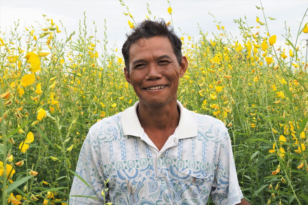Mr. Teera Srilatham, 44, stands in the yellow Por Tuang (sunn hemp) field which has become a new tourist attraction of his hometown in Ang Thong's Wiset Chai Chan district. (Photo credit: Prangthong Jitcharoenkul)