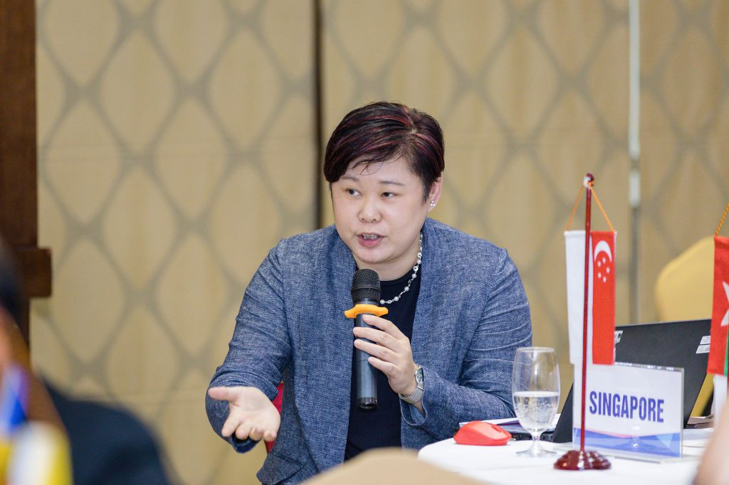 A representative from Singapore shares her work experience during the workshop. (Photo credit: GIZ Vietnam)
