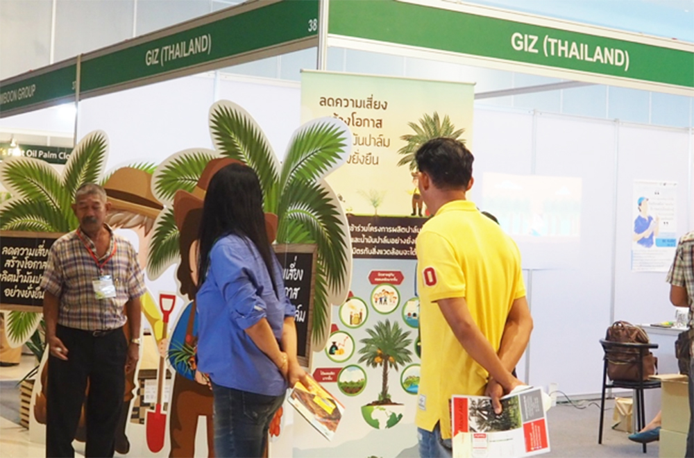 Visitors pay attention to GIZ Thailand's booth during PALMEX Thailand. (Photo credit: GIZ Thailand)