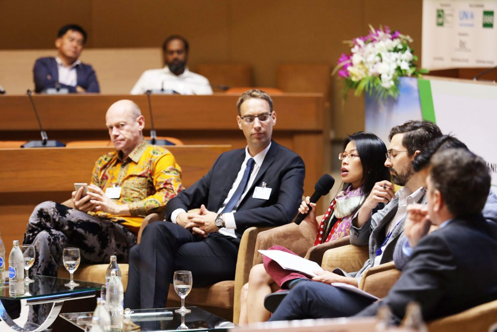 Matthias Bickel, GIZ Thailand's director for agriculture and food cluster speaks during the panel discussion. (Photo credit: I shoot your shot/ Sustainable Rice Platform)