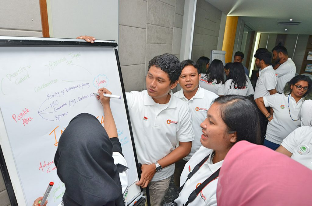 Students brainstorm and exchange ideas how the youngsters can raise awareness about sustainable palm oil. (Photo credit: RSPO)