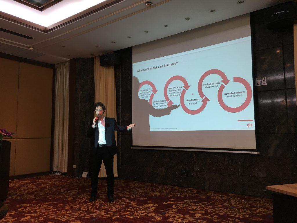 Dr. Alexander Jäger, Team Leader - Agricultural and Climate Risk Insurance at the Deutsche Gesellschaft fur Internationale Zusammenarbeit (GIZ), shares experience on crop insurance and good practices from other regions. (Photo credit: GIZ Thailand)