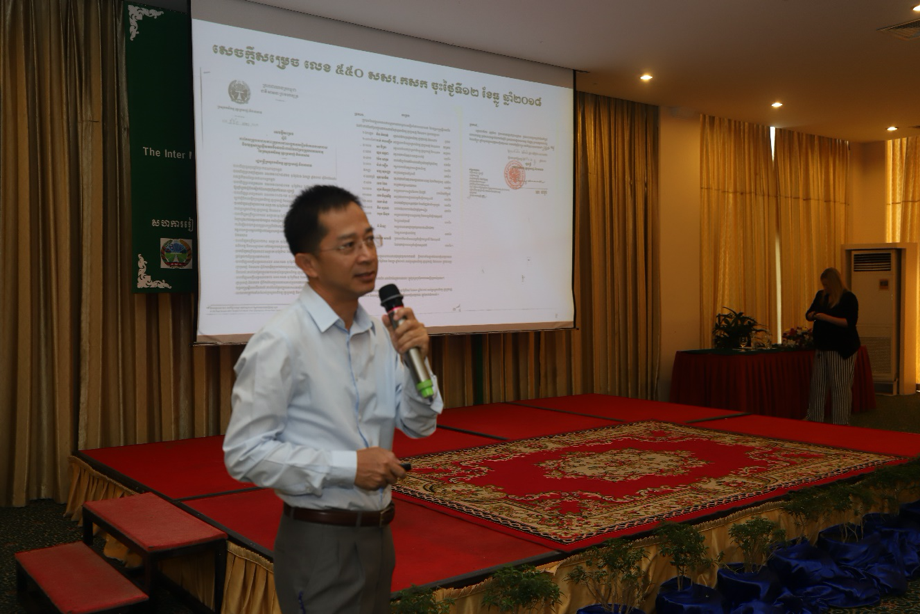 Mr. Hok Kimthourn, Deputy Director of Department of Planning and Statistics at MAFF shares his comments on a judicious mix of public and private approaches in agricultural insurance and the role of governments in supporting agricultural insurance programmes. (Photo Credit: GIZ Thailand)
